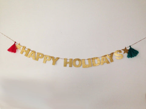 Happy Holidays Glitter Banner
