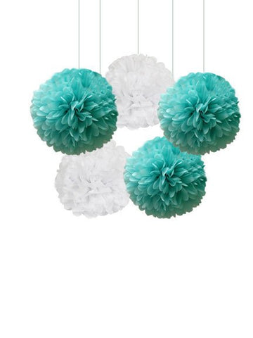 Breakfast at Tiffany and co Decorations Tissue Pom Poms Set for a birthday, Wedding decor or a Shower, Aqua blue Party  ideas Blue white