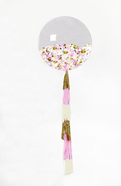 "Confetti Balloon Giant Balloon with Tassel and Confetti Custom Colors 36"" Balloon with 5 Foot Tassel"