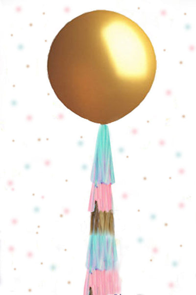 Gender Reveal Balloon in GOLD, Gender Reveal Balloon with Tassel, Gender Reveal Balloon Kit,  Gender Reveal Confetti Balloon