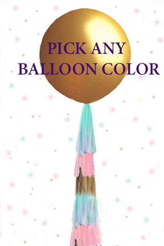 Gender Reveal Balloon, Gold Gender Reveal Ideas, Gold Gender Reveal Party Balloon, Giant Balloon, Confetti Pop, Tassel tail pink and blue