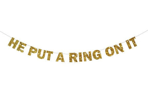 He Put A Ring On It Banner, Put A Ring On It Banner, Engagement Banner, Bachelorette Banner, Engagement Party Decor, Bachelorette Party