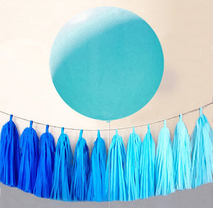 "Turquoise 36"" Balloons, HUGE 36 inch Aqua Latex Balloon with ombre tassel"