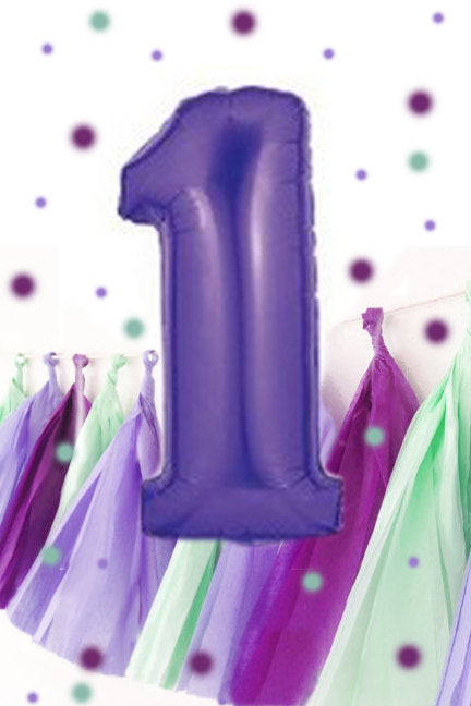 First Birthday Balloon, Purple Giant Number 1 Balloon, Purple First Birthday Decoration | Number Balloon in Purple