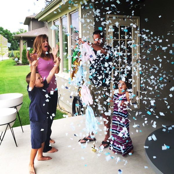 Black Gender Reveal Confetti Balloon with 2 colors of confetti- blue and pink