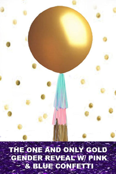 Gender Reveal Balloon in GOLD, Reveal Party Balloon Pop, Gold Gender Reveal Balloon, Gender Reveal Confetti Biodegradable, Gold Gender