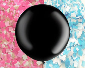 "Black Gender Reveal Confetti Balloon, Jumbo 36"" Balloon with 2 colors confetti, Gender Reveal Party ideas, round balloon"