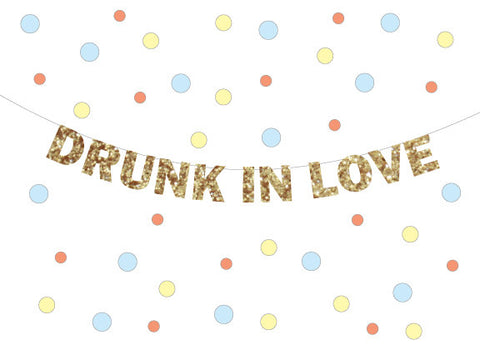 Drunk in Love Sign Banner, a  Valentines, Wedding, Bachelorette Party Decoration, Photo Prop, Beyonce decor I Love You