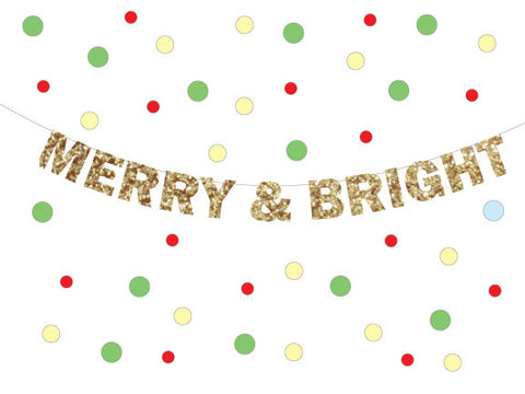 Merry and Bright Glitter Banner - Holiday Decoration, Christmas Decorations for a party or celebration