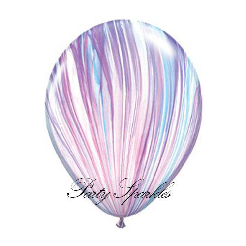 Unicorn Balloons, Unicorn Birthday Ideas, Frozen Balloons, Swirl Balloons, Agate Balloons in Purple, White and Blue