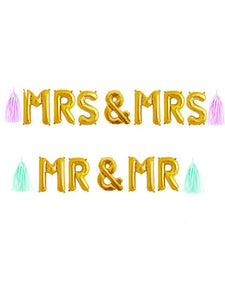 "Mr and Mrs Balloons, Mr and Mr Banner14"" in gold, rose gold or silver mylar, Mrs and Mrs Sign, Wedding or Engagement party decorations"