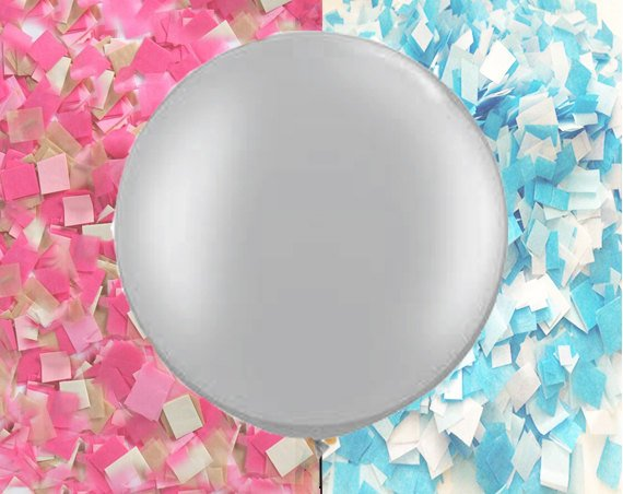 Gender Reveal Balloon in Silver with Confetti, Reveal Party Balloon with a Pop - Giant round balloon with pink and blue  confetti