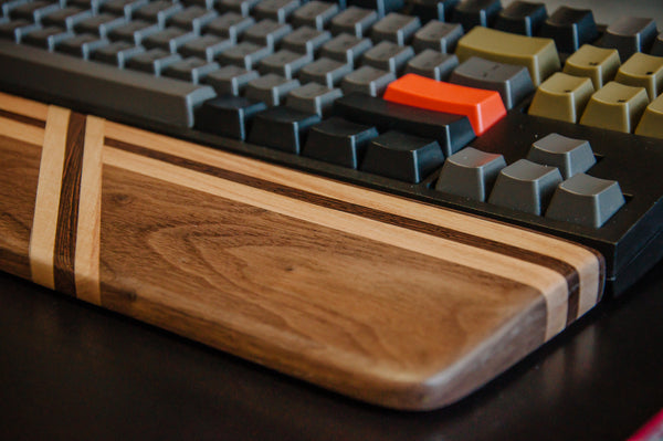 Wooden Wrist Rest made with Dark Walnut, Maple, & Wenge wood