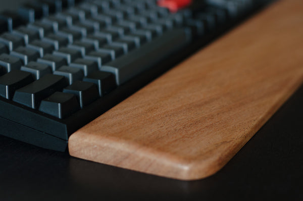 Wood wrist rest made of solid Mahogany