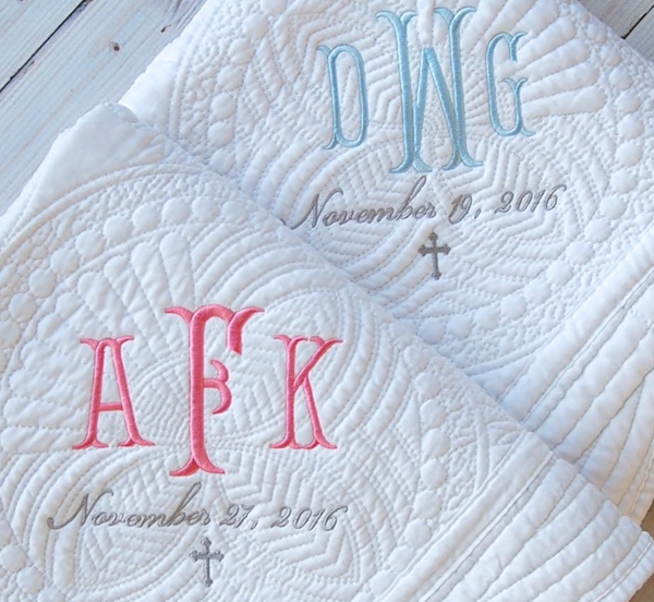 Baptism Gift Personalized Baby Blanket with Monogram for Boy or Girl