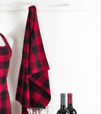 Buffalo Plaid Tea Towel for Kitchen Red and Black
