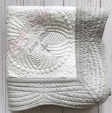 baptism blanket for girl pink and gray