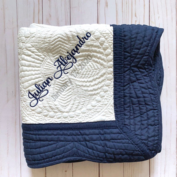 baby blanket navy blue nursery decor