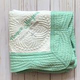 mint green baptism blanket personalized