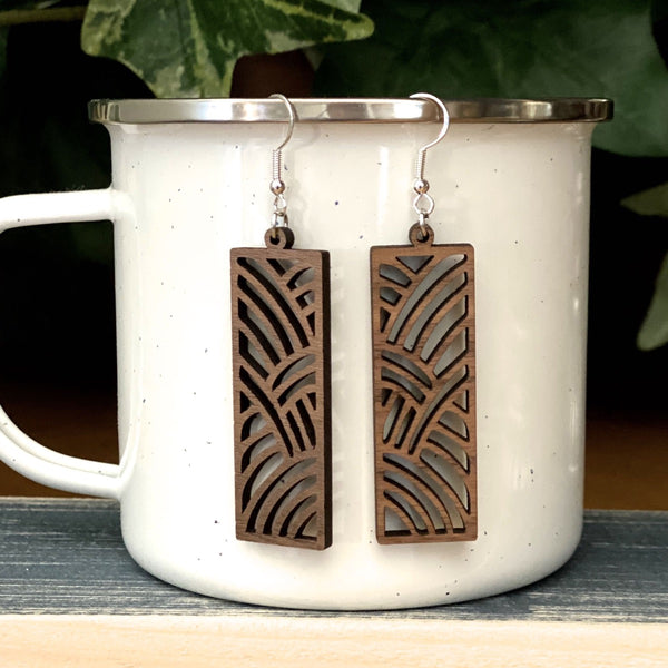 laser cut wood earrings geometric walnut