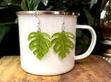 Monstera Leaf Dangle Earrings - Laser Cut Frosted Acrylic - Lightweight Jewelry