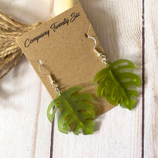 Monstera leaf acrylic earrings green
