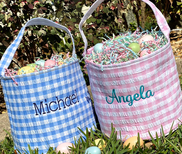 Personalized Easter Basket for Girl or Boy Pink Blue