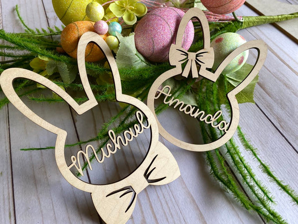Personalized Easter place cards laser cut wood basket tag