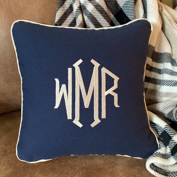 navy blue cotton canvas monogram pillow three letters diamond