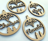 Personalized Christmas Ornament with Name Laser Cut Wood