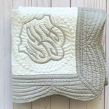 monogram baby blanket white and gray personalized