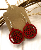 Laser cut earrings red snowflake lightweight