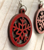 Laser Cut Wood Earrings - Christmas Snowflake - Lightweight - Sterling Wires