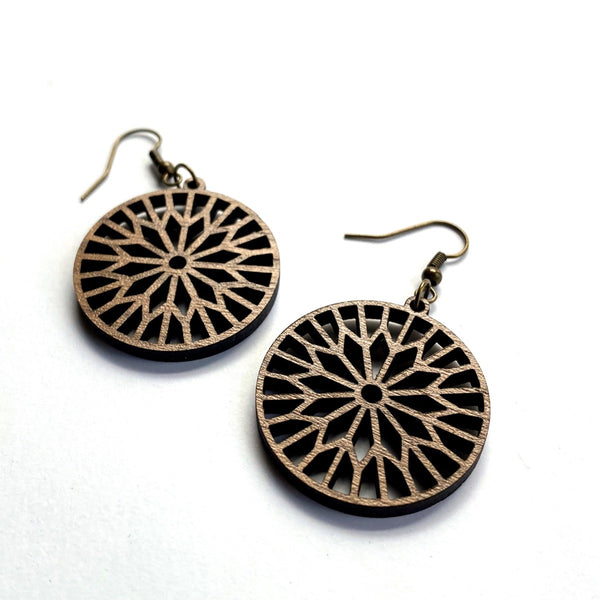 starburst earrings laser cut walnut