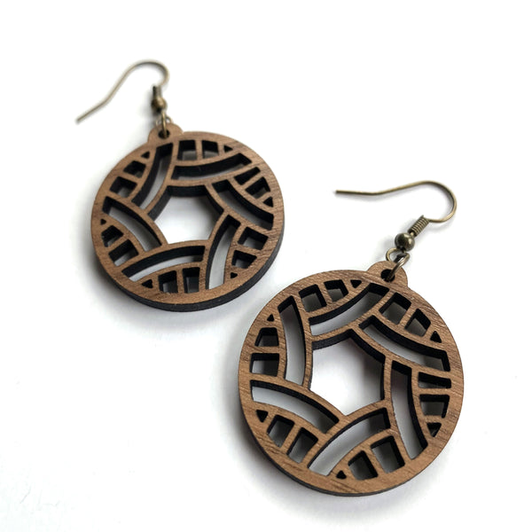 laser cut wood circle earrings walnut