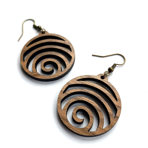 laser cut wood earrings round walnut