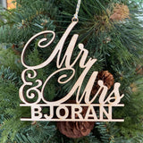 personalized mr mrs Christmas ornament wood