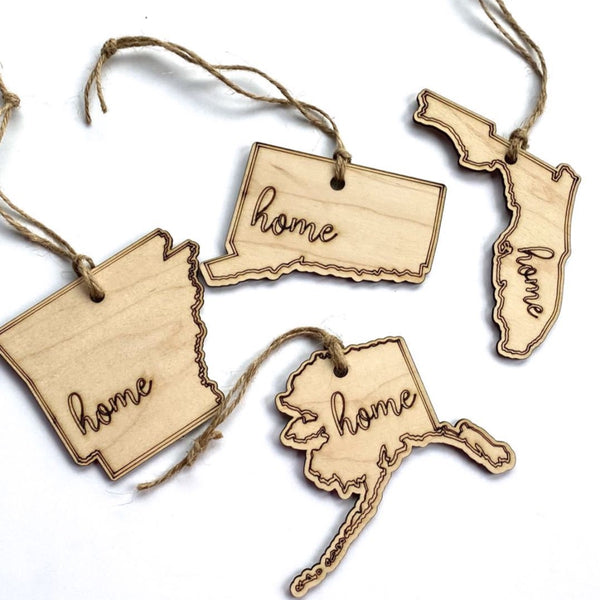 us state wood christmas tree ornament