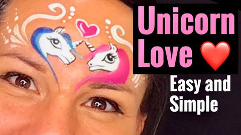 Easy Unicorn Love Face Painting Tutorial by Maria at Lets Paint