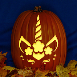 Downloadable Halloween Unicorn Pumpkin Carving Pattern