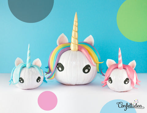 DIY Pretty Pastel Halloween Unicorn Pumpkins by Confettidea