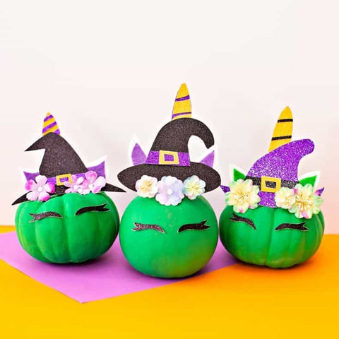DIY Mini Halloween Unicorn Pumpkin Witches by Hello Wonderful