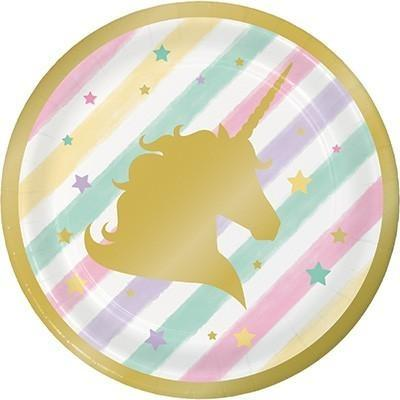 Unicorn Sparkle Gold Foil Lunch Plates - Finding Unicorns