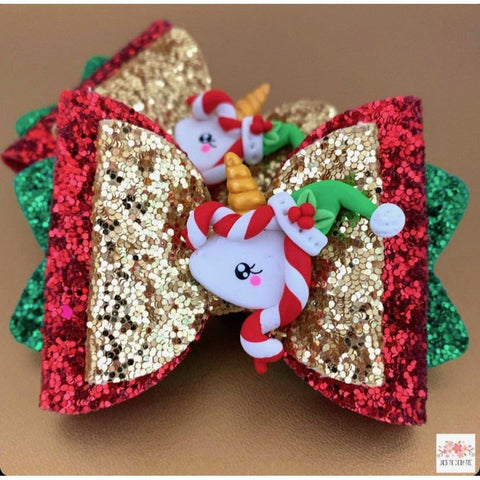 Unicorn Christmas Candy Cane Bow - Finding Unicorns