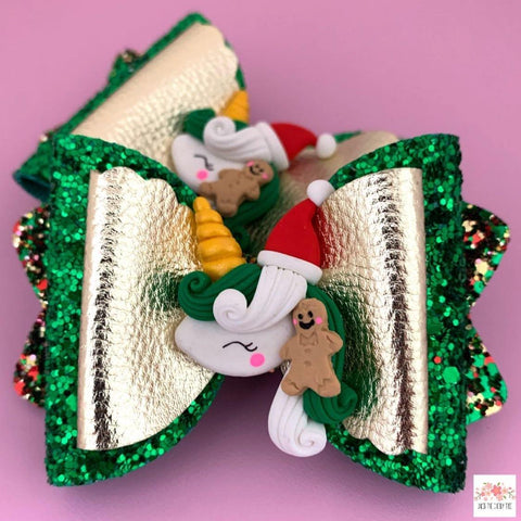 Unicorn Christmas Gingerbread Man Bow - Finding Unicorns
