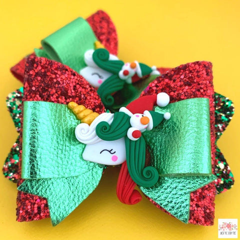 Unicorn Christmas Snowman Bow - Finding Unicorns