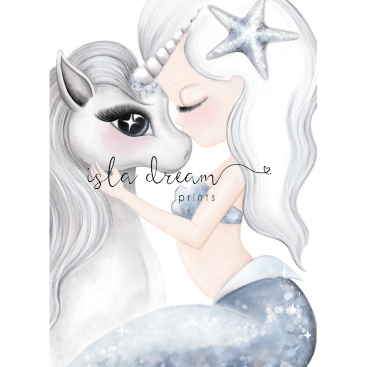 Cotton & Coral - Unicorn and Mermaid Artwork (Blue) - Finding Unicorns