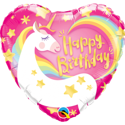 Heart Shaped Happy Birthday Unicorn Balloon - Finding Unicorns