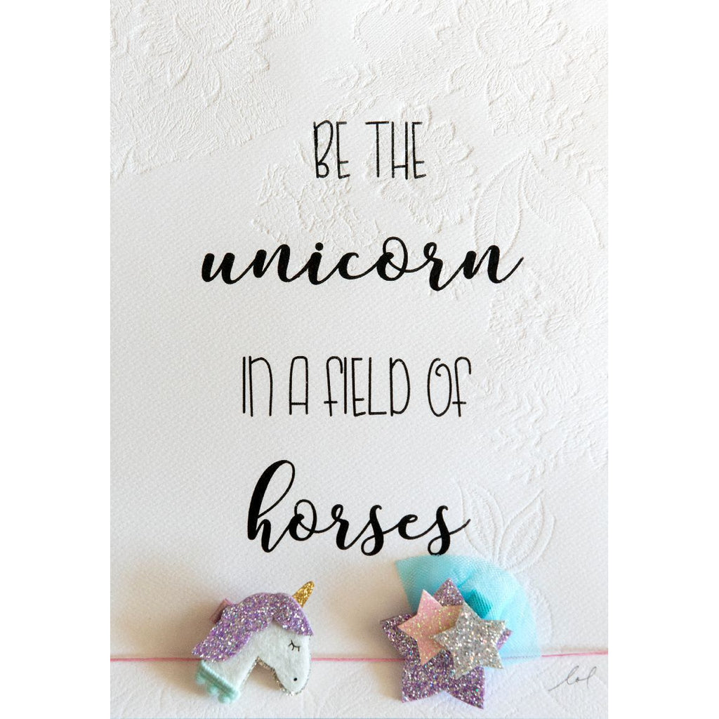 Unicorn Print with Hair Clips - Finding Unicorns