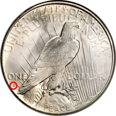 Peace Dollar mintmark location